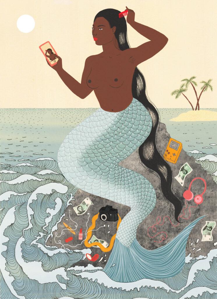 Mami Wata, sitting on a rock in the sea, from 'Warriors, Witches, Women: Mythology's Fiercest Females' is a new book by Kate Hodges, illustrated by Harriet Lee-Merrion.