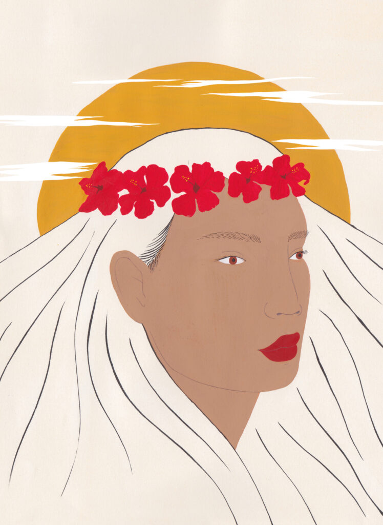 Pele standing in front of the sun wearing a flower headband, from 'Warriors, Witches, Women: Mythology's Fiercest Females' is a new book by Kate Hodges, illustrated by Harriet Lee-Merrion.