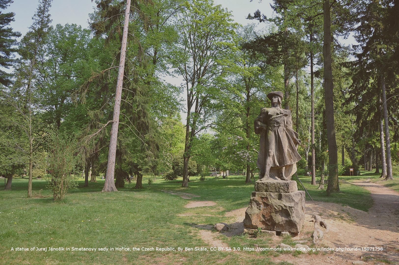 A statue of Juraj Jánošík in Smetanovy sady in Hořice, the Czech Republic. By Ben Skála, CC BY-SA 3.0. https://commons.wikimedia.org/w/index.php?curid=15071798