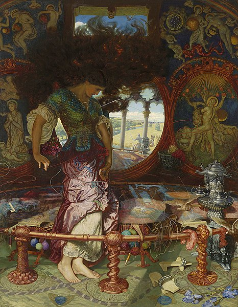 """The Lady of Shalott"" by William Holman Hunt with Edward Robert Hughes. Public Domain https://commons.wikimedia.org/w/index.php?curid=897229"