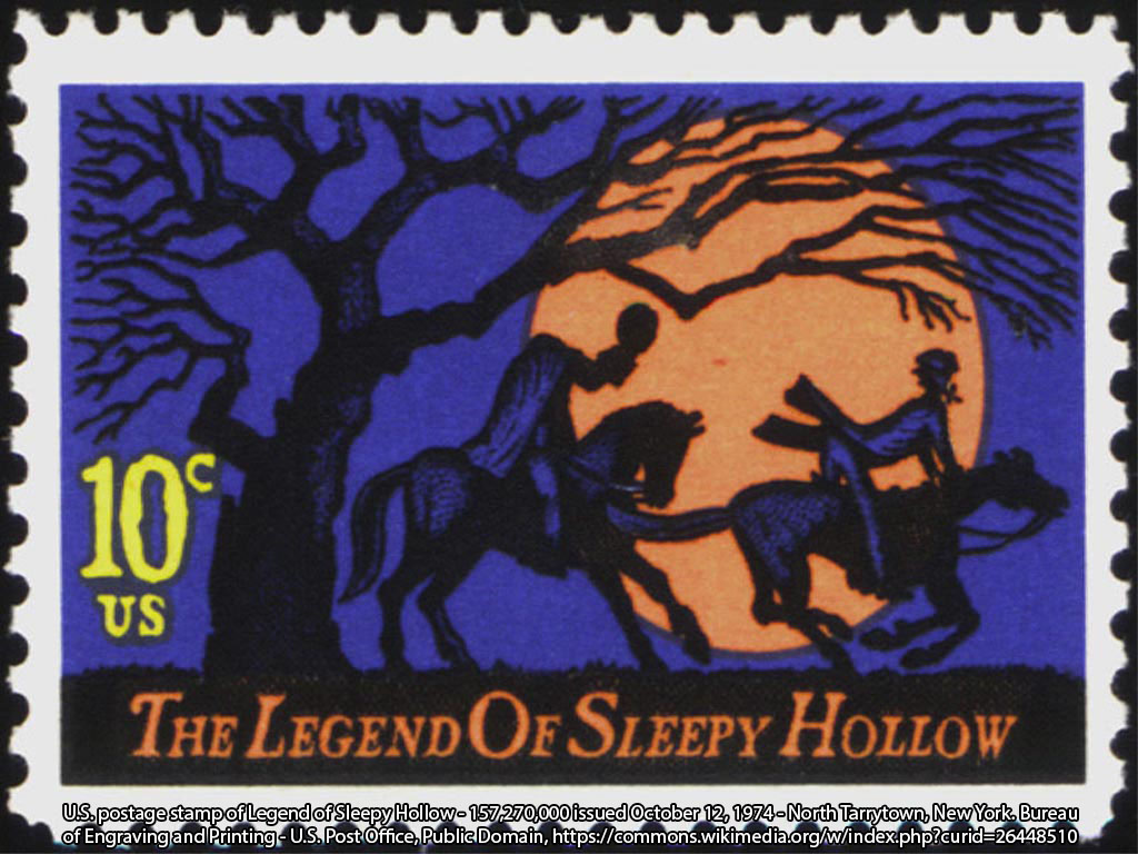 U.S. postage stamp of Legend of Sleepy Hollow - 157,270,000 issued October 12, 1974 - North Tarrytown, New York. Bureau of Engraving and Printing - U.S. Post Office, Public Domain, https://commons.wikimedia.org/w/index.php?curid=26448510