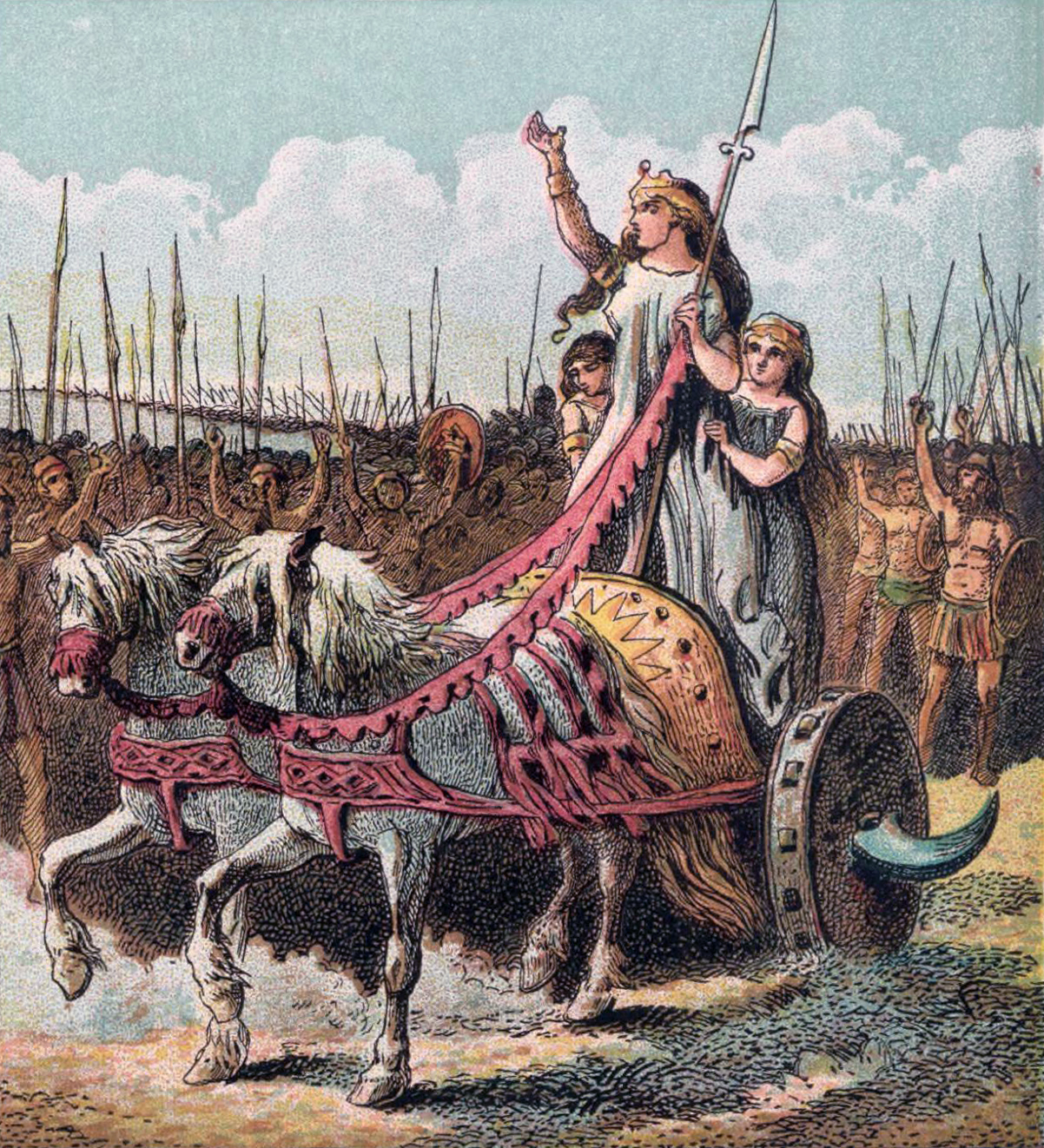 Boadicea, leader of the rebellion against the Romans. By Joseph Martin Kronheim (1810–96)[1] - This file has been extracted from another file: Pictures of English History - Plates I to IV.jpg, Public Domain, https://commons.wikimedia.org/w/index.php?curid=12705208
