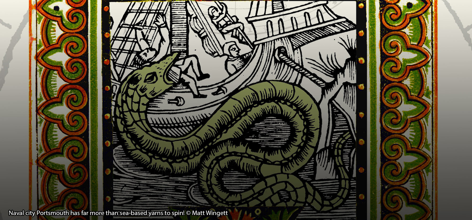 Book cover detail. Naval city Portsmouth has far more than sea-based yarns to spin! © Matt Wingett