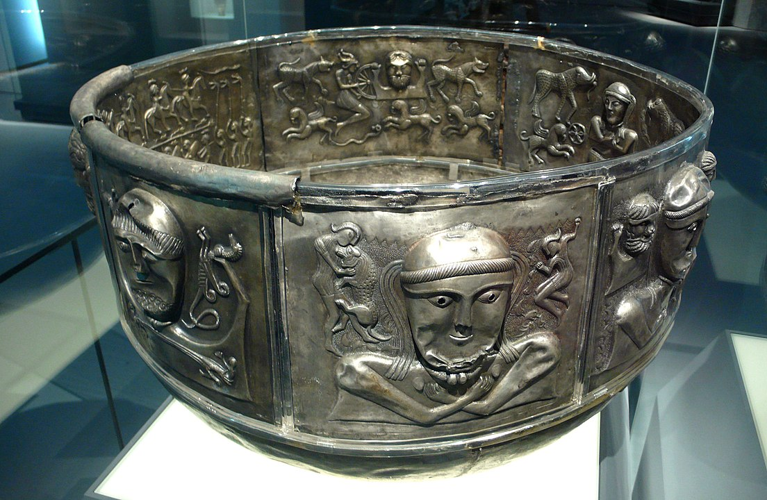 The Gundestrup Cauldron by Rosemania - CC BY 2.0 https://commons.wikimedia.org/wiki/File:Silver_cauldron.jpg