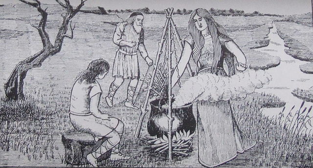 The Cauldron of Ceridwen – Public Domain. Print by J.E.C. Williams in the book 'Y Mabinogion', trans. J.M. Edwards (Wrexham, 1901).