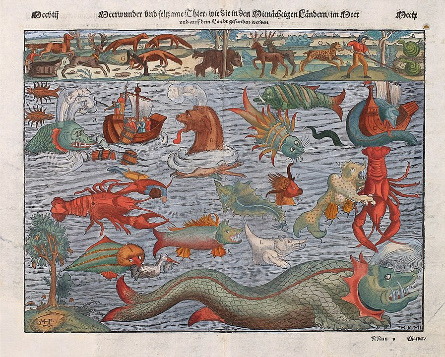 Sea monsters in the sea, from the Carta Marina