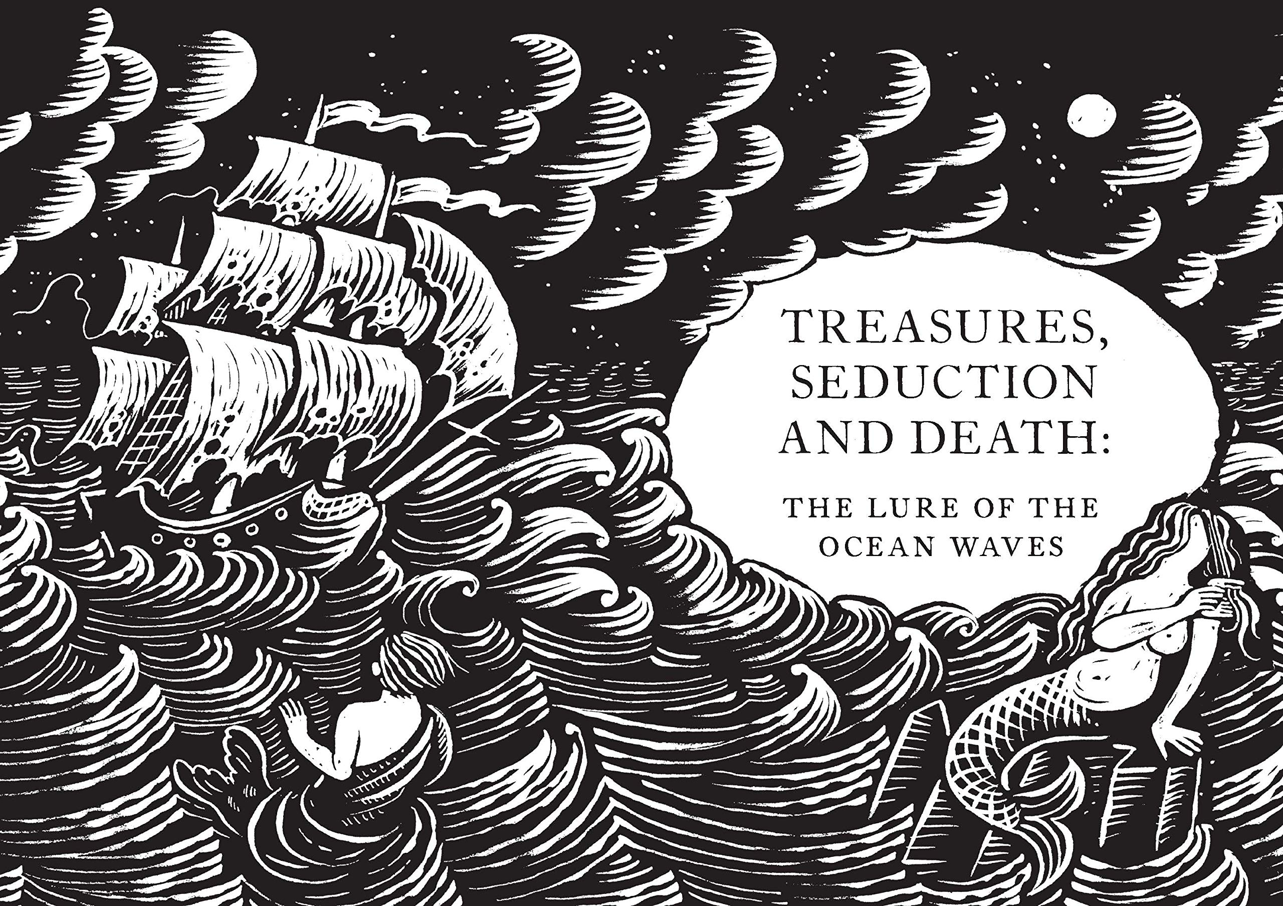 Engraving os waves with merman and ghost ship.