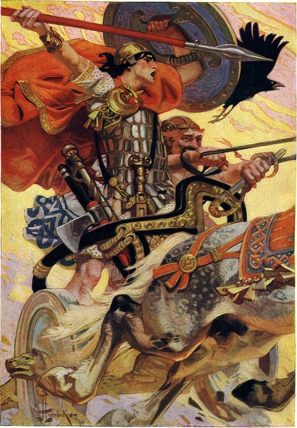 Cú Chulainn in Battle by Joseph Christian Leyendecker, Public Domain, https://commons.wikimedia.org/w/index.php?curid=3485459