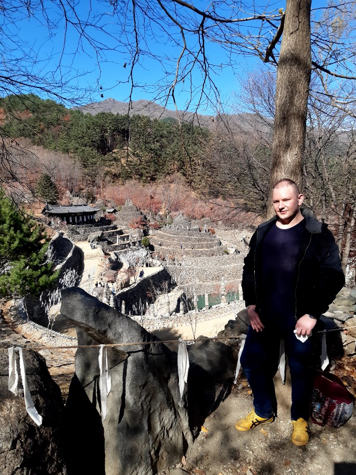 Author pictured at Samseonggung: A unique shrine dedicated to folk-religion in South Korea. The only one its kind, founded by a hereditary Daoist priest named Ham Pil. © David R. L. Jones