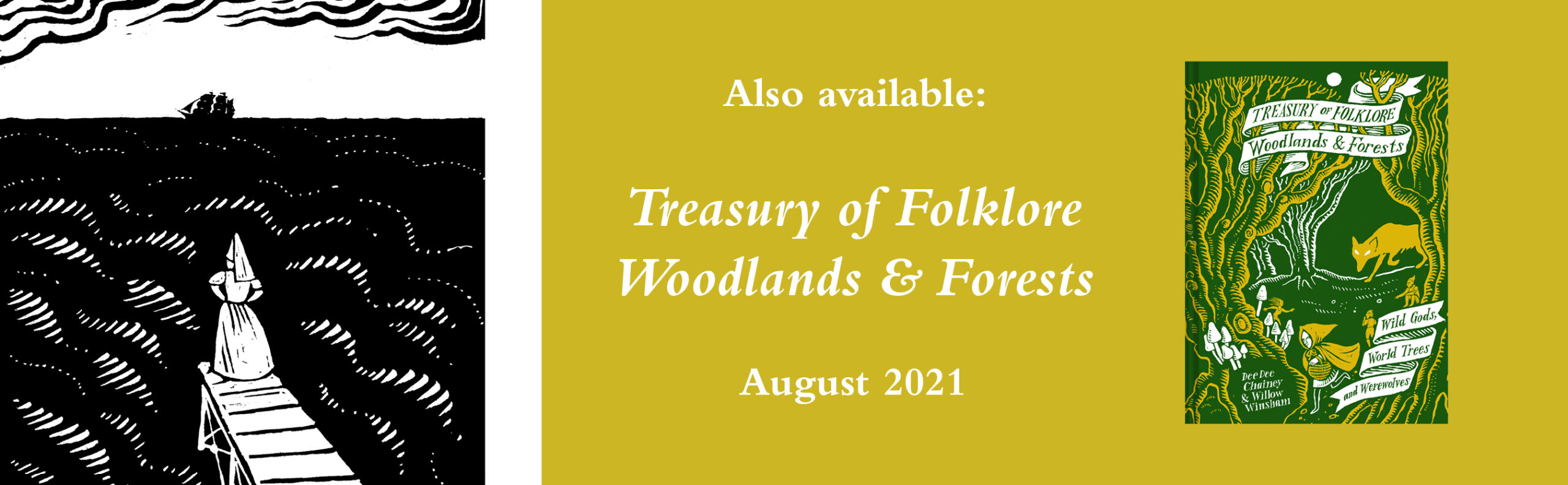 Book banner: Also available, Treasury of Folklore – Woodlands and Forests.