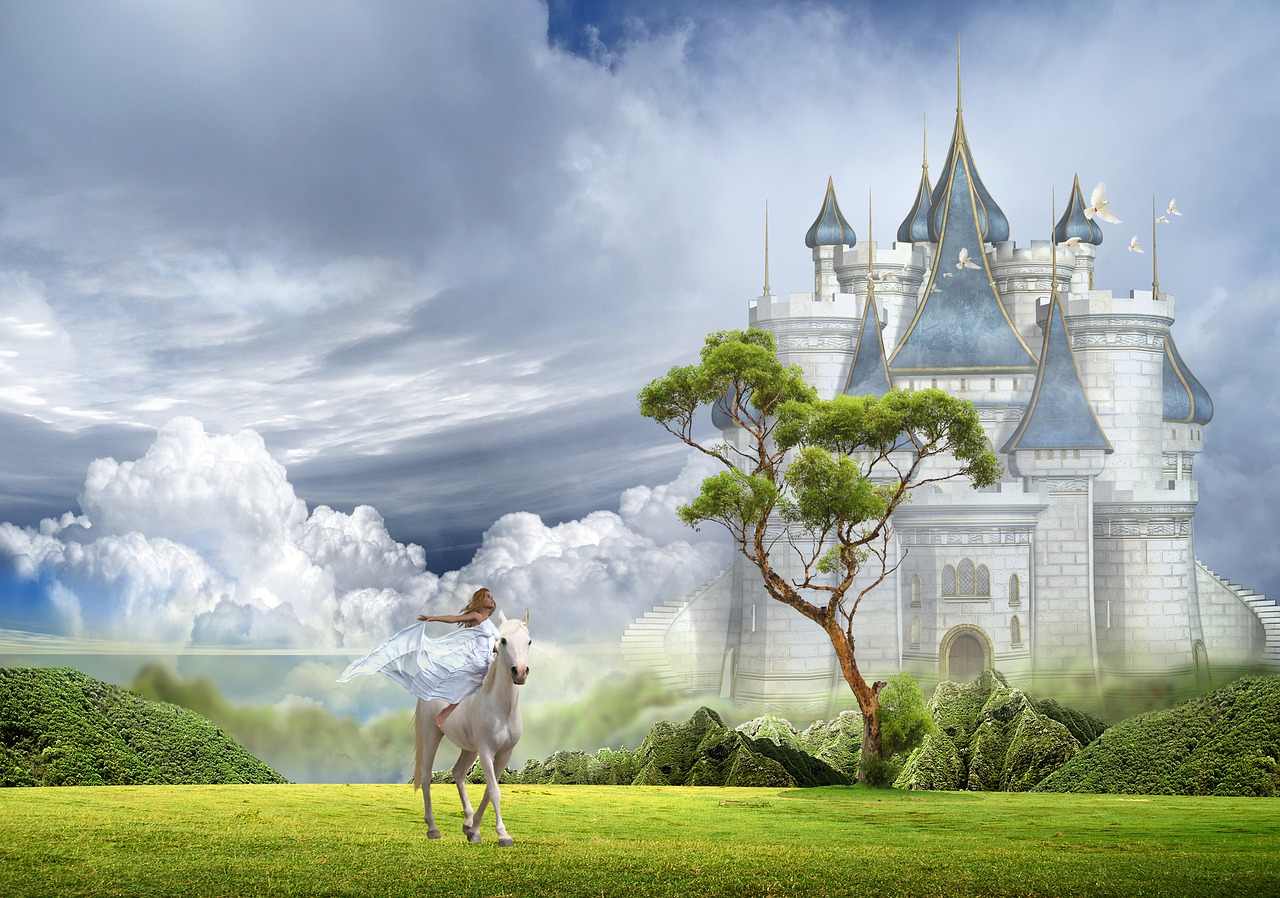 Woman on white horse in front of castle.