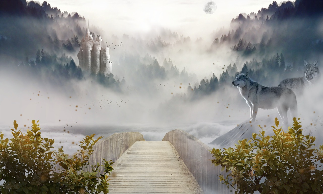 Bridge disappearing into the mountain mists, with a wolf watching on.